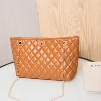 Geometric Texture Twist Lock Chain Strap Handbags - Brown