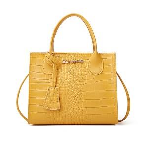 Crocodile Animal Pattern Zipper Closure Handbags - Yellow