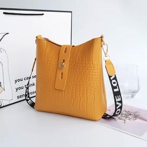 Synthetic Leather Twist Lock Women Fashion Vintage Handbags - Yellow