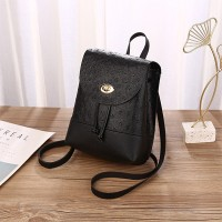 Synthetic Leather Twist Lock Textured Mini Backpack - Black
