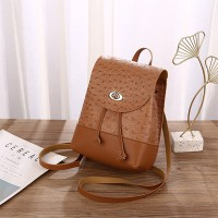 Synthetic Leather Twist Lock Textured Mini Backpack - Brown