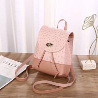 Synthetic Leather Twist Lock Textured Mini Backpack - Pink