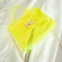 Twist Lock Transparent Chain Strap See Through Messenger Bags - Green