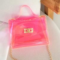 Twist Lock Transparent Chain Strap See Through Messenger Bags - Pink