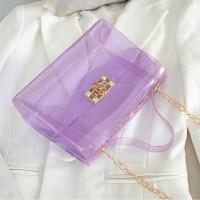 Twist Lock Transparent Chain Strap See Through Messenger Bags - Purple