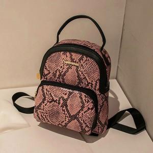 Snakeskin Printed Zipper Closure Mini Backpacks - Pink
