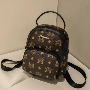 Snakeskin Printed Zipper Closure Mini Backpacks - Brown