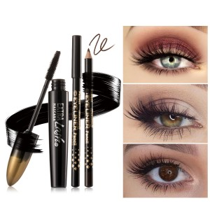3 Pieces Set Of Eye Mascara With Eye Liners - Black