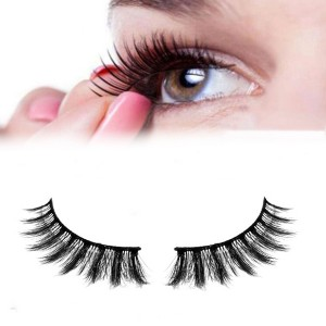 Soft And Long  Thick False Naturally Curled 3D Eyelashes - Black