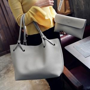 2 Pcs Set Women Litchi Pattern Large Capacity One Shoulder Bag - Light Gray
