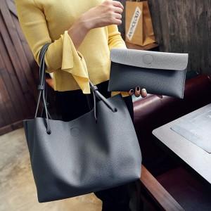 2 Pcs Set Women Litchi Pattern Large Capacity One Shoulder Bag - Dark Gray