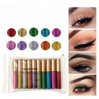 10 Pcs Eye Makeup Shiny Liquid Glitter Eyeliners Set - Multi Color