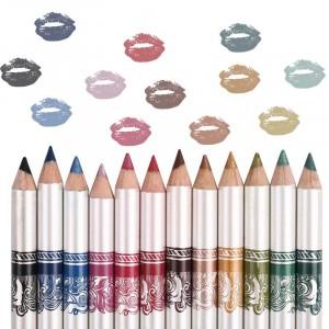 12 Pcs Colored Eyeliner Lip Liner Pencils Set - Multi Color