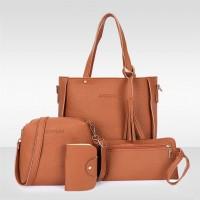 Set Of 4 Pcs Women Litchi Pattern Large Capacity Shoulder Bag - Brown