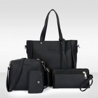 Set Of 4 Pcs Women Litchi Pattern Large Capacity Shoulder Bag - Black