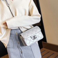 Solid Color Geometric Textured Luxury Shoulder Bag - Silver