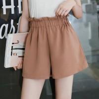 Elastic Waist Summer Wear Mini Length Shorts - Khaki