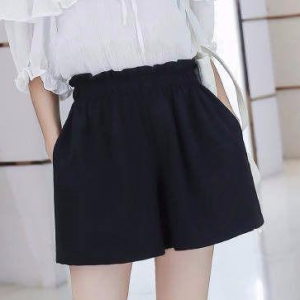 Elastic Waist Summer Wear Mini Length Shorts - Black