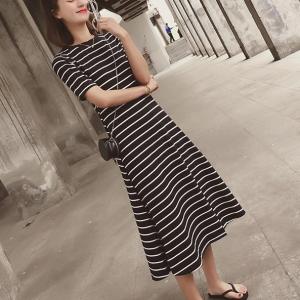 Round Neck Stripes Printed A-Line Midi Dress - Black