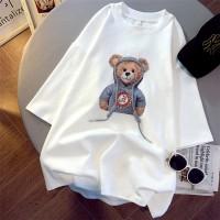 Bear Digital Printed Loose Wear Round Neck Top - White