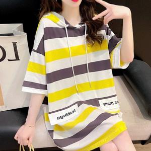 Hoodie Neck Stripes Print Loose Wear Top - Yellow