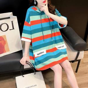 Hoodie Neck Stripes Print Loose Wear Top - Multicolor