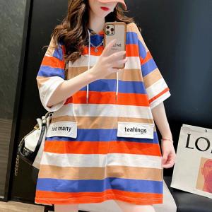 Hoodie Neck Stripes Print Loose Wear Top - Orange