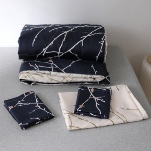 Twig Design 4 Pieces Bedsheet Comforter With Pillow Cover Set - Navy
