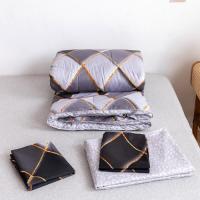 Rhombs Black Design 4 Pieces Bedsheet Comforter With Pillow Cover Set - Black