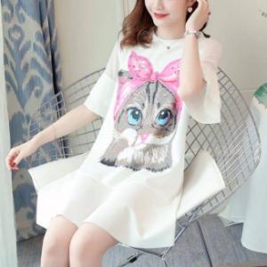 Cat Printed Graphic Prints Round Neck Short Sleeved Mini Dress - White