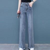 Button Zipper Closure Full Length Denim Pant - Blue