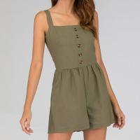 Strapped Shoulder Frilled Waist Solid Color Romper Dress - Green