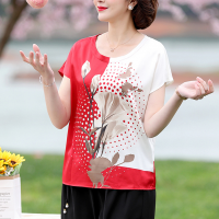 Floral Print Round Neck Short Sleeves Blouse Top - Red