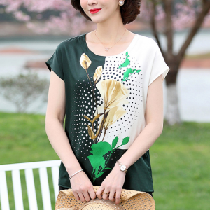 Floral Print Round Neck Short Sleeves Blouse Top - Green