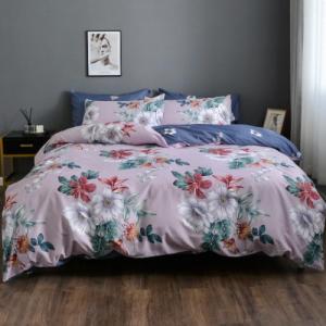 Floral Design King Size 6 PCs Bedding Set - Purple
