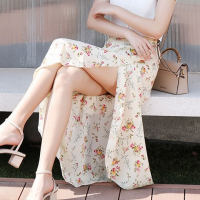 Elastic Floral Irregular Length Summer Wear Skirt - Beige