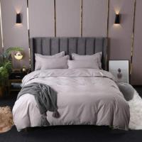 6 PCs King Size Plain Bedding Set - Gray Color