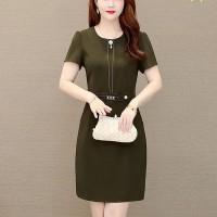Round Neck Short Sleeved Mini Formal Dress - Dark Green