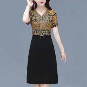 V Neck Short Sleeves Floral Printed Mini Dress - Multicolor