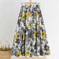 Elastic Waist Floral Printed Summer Wear Skirt - Multicolor