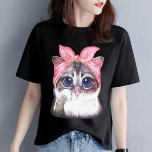 Cat Printed Round Neck Short Sleeves Casual T-Shirt - Black