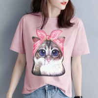 Cat Printed Round Neck Short Sleeves Casual T-Shirt - Pink