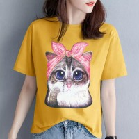 Cat Printed Round Neck Short Sleeves Casual T-Shirt - Yellow