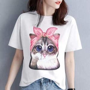 Cat Printed Round Neck Short Sleeves Casual T-Shirt - White