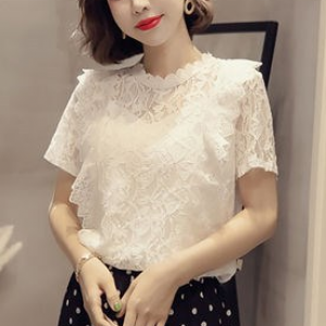 Floral Patched O Neck Summer Wear Top - White
