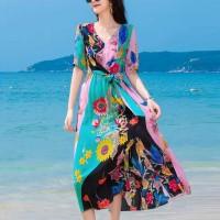 V Neck Beach Wear Floral Printed Short Sleeves Dress