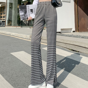 Houndstooth Elastic Geometric Printed Bell Bottom Trouser - Black and White