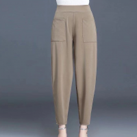Narrow Bottom Waist Elastic Solid Trouser - Khaki
