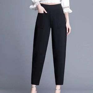 Narrow Bottom Waist Elastic Solid Trouser - Black