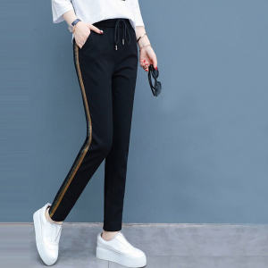 Narrow Bottom String Closure Solid Color Trouser - Black